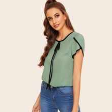 Petal Sleeve Tie Neck Contrast Binding Blouse