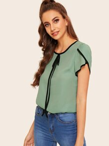 Contrast Binding Tie Neck Blouse