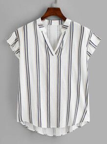 Plus Dip Hem Striped V-neck Blouse
