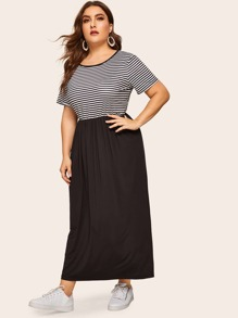 Plus Contrast Striped Panel Dress