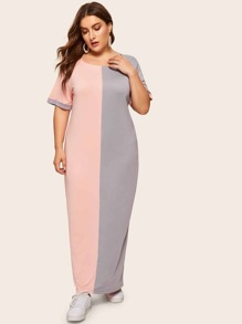 Plus Two Tone Maxi Dress