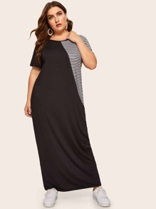 Plus Contrast Striped Panel Maxi Dress