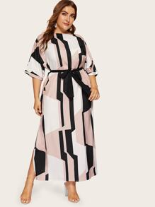 Plus Geo Print Split Side Belted Dress