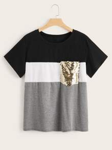 Plus Cut And Sew Contrast Sequin Tee