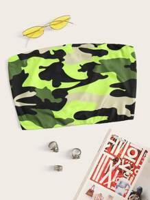 Camo Print Crop Tube Top