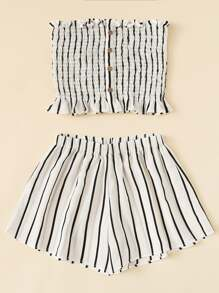 Plus Lettuce Frill Striped Tube Top With Shorts