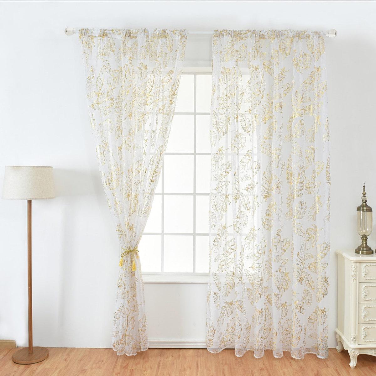 Vorhang mit Feder Muster, Bronzing Rod Taschen und transparentem Netzstoff 1pc