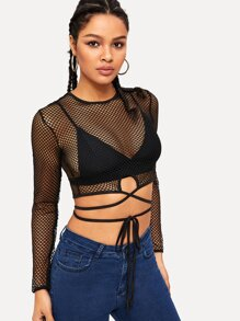 Criss Cross Knot Hem Sheer Mesh Tee