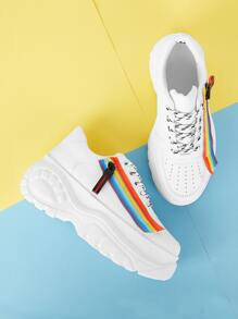 Rainbow Lace-up Chunky Sneakers
