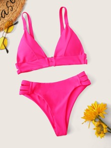 Triangle Top With High Cut Bikini Set