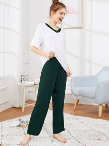Contrast Side V-neck Pajama Set