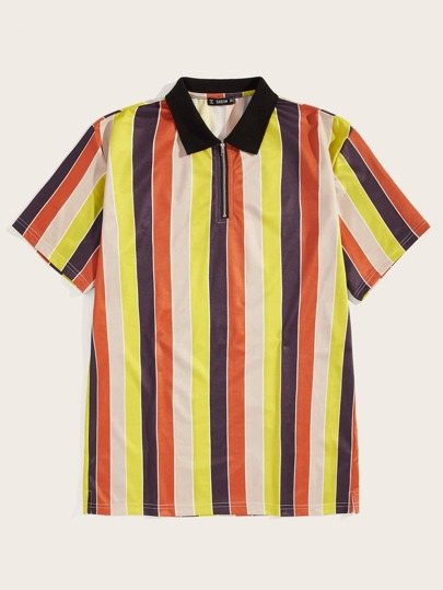 Men Zip Front Colorful Striped Polo Shirt