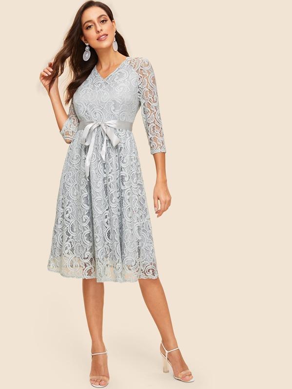 946e3ad74a Cheap 50s Ribbon Tie Waist Lace Overlay Dress for sale Australia | SHEIN