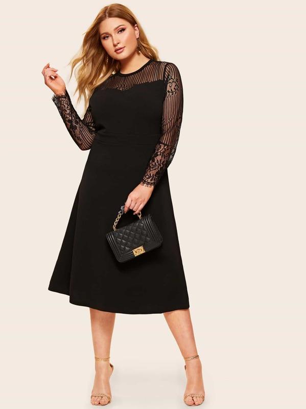 32ae9821c6 Plus Lace Yoke Sweetheart Solid Dress   SHEIN