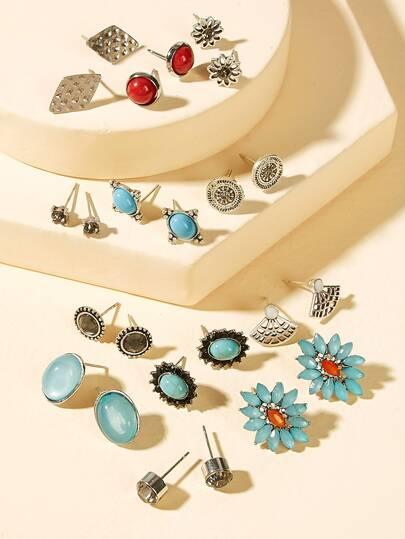Imitation Flower Rhinestone Ear Jewelry Earrings Stud Rose Pearl Women Jewelry & Accessories Earrings