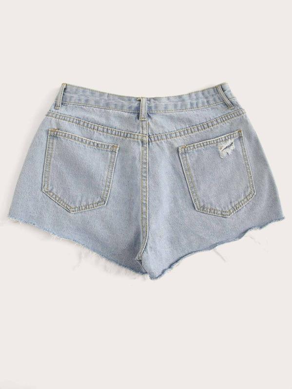a3167e6f90a Frayed Hem Button Front Denim Shorts | SHEIN