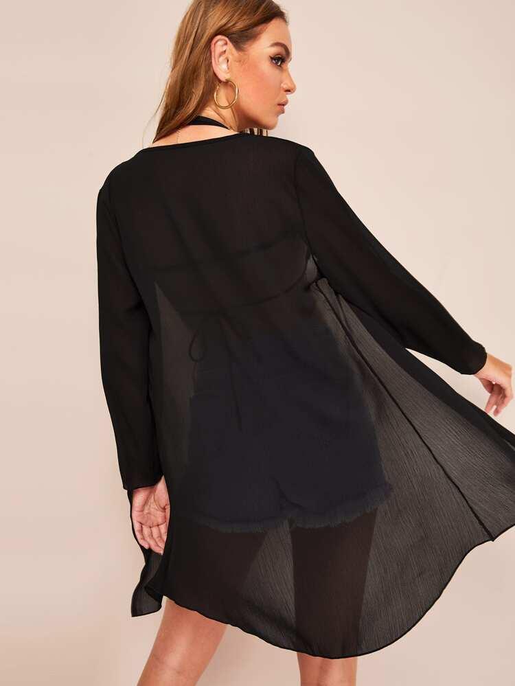 481235f4 Svart Ren Slätt Boho Kimono | SHEIN SE