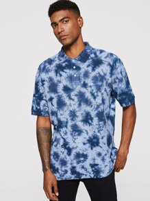 Men Tie Dye Polo Shirt