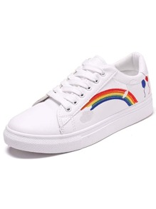 Rainbow Embroidered Lace-up Front Sneakers