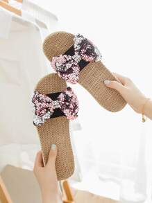 Sequins Decor Bow Linen Slippers