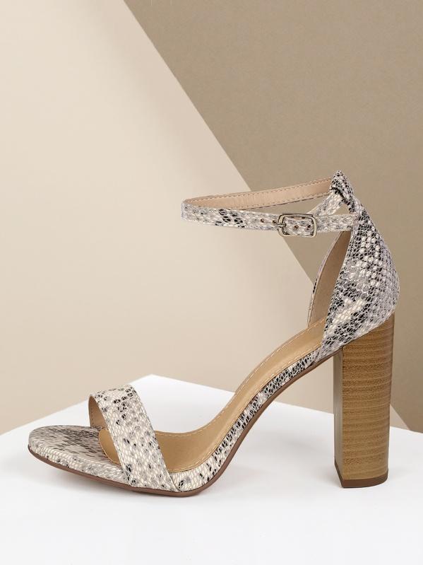 c2f6db5b1cd Snake Embossed Open Toe Ankle Strap Chunky Heels