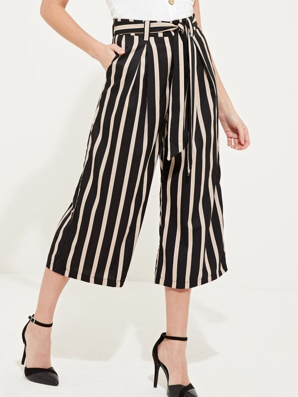 Striped Wide Leg Trousers by Sheinside
