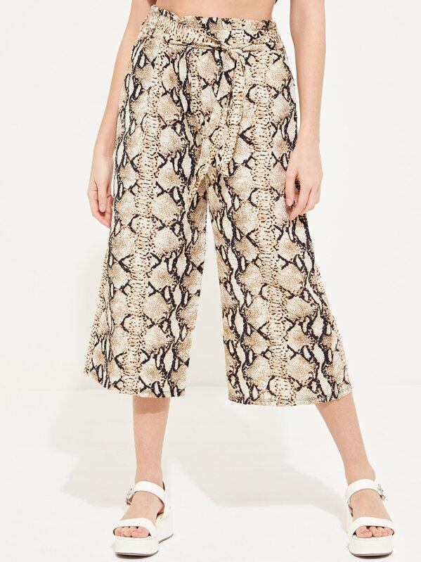 239f812f8a Snake Skin Print Paper Bag Waist Culottes   SHEIN UK