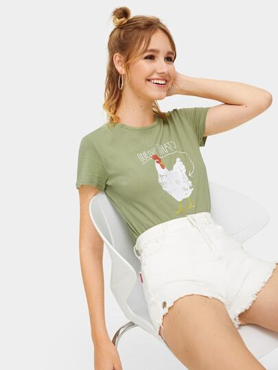 Chicken And Letter Print Tee