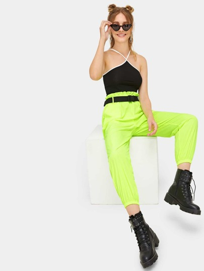 Neon Lime Elastic Hem Pants With Push Buckle Belt
