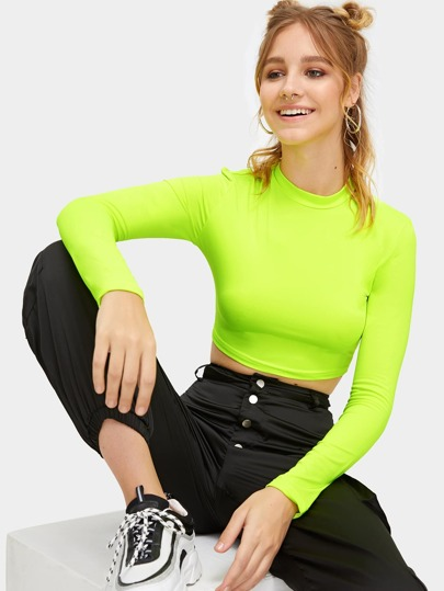 Neon Green Mock-neck Slim Fitted Crop Top