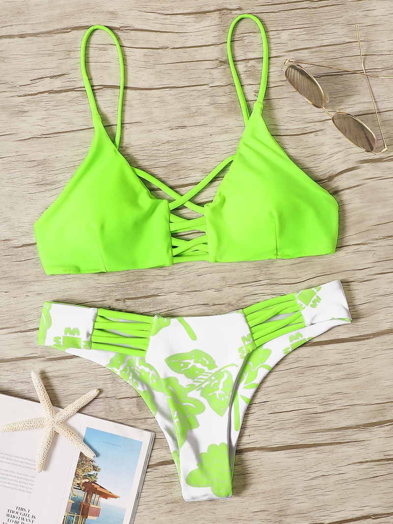 9a015dc8bea Neon Lime Ladder Cutout Top With Floral Bikini Set
