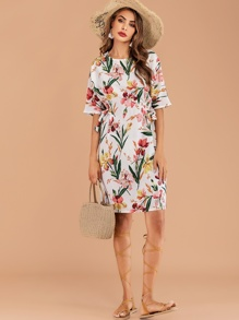 Floral Print Knot Side Dress