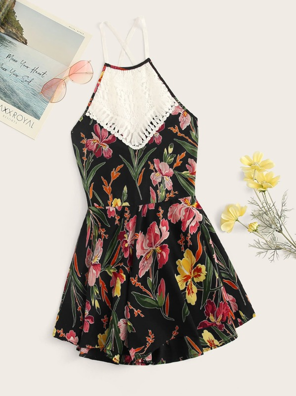 c465c0bbce8f94 Hollow Crochet Lace Panel Floral Print Romper | SHEIN IN