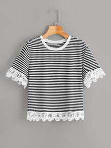 Guipure Lace Trim Striped Tee