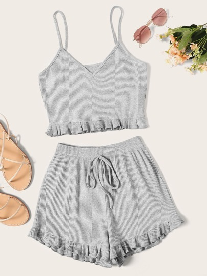 a7853d866d9 Solid Frill Trim Crop Cami Top With Shorts