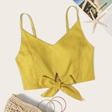 Solid Knot Front Crop Cami Top
