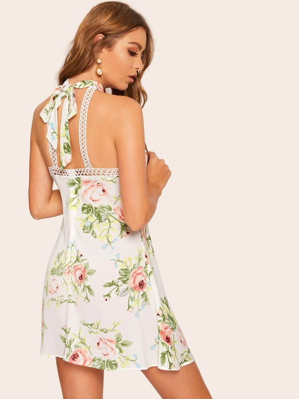998c39927c Floral Print Contrast Lace Backless Dress | SHEIN IN