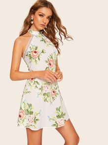 Floral Print Contrast Lace Backless Dress