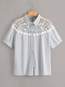 Plus Contrast Mesh Stereo Flowers Blouse