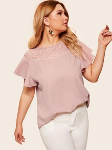 Plus Contrast Lace Button Keyhole Blouse