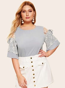 Plus Contrast Lace Knot Sleeve Blouse
