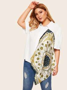 Plus Scarf Print Asymmetrical Hem Blouse