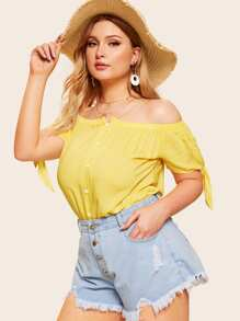 Plus Off Shoulder Knot Cuff Blouse