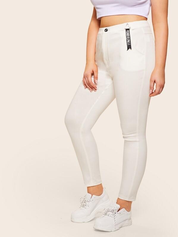 Plus Letter Print Ribbon Jeans by Sheinside