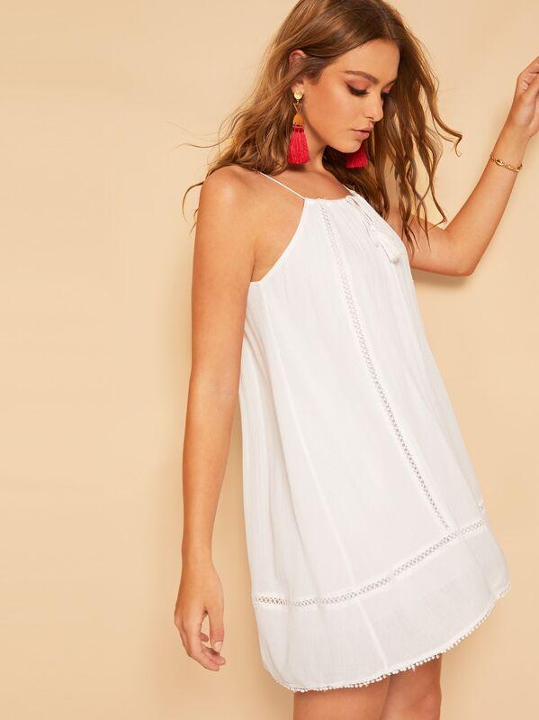 0b051a8858 Cheap Crochet Panel Fringe Detail Cami Dress for sale Australia   SHEIN