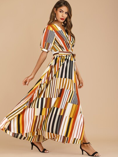 Surplice Striped Zip Back Belted Dress