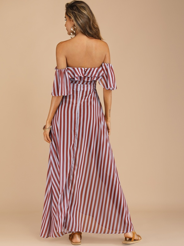 1fe8900d710a3 Striped Belted Layer Ruffle Off The Shoulder Dress   SHEIN