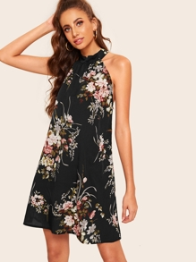 Floral Print Tie Back Halter Dress