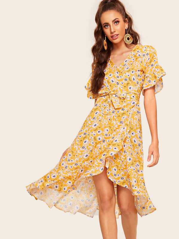 f5071058e2 Cheap Floral Print Ruffle Hem Wrap Dress for sale Australia | SHEIN