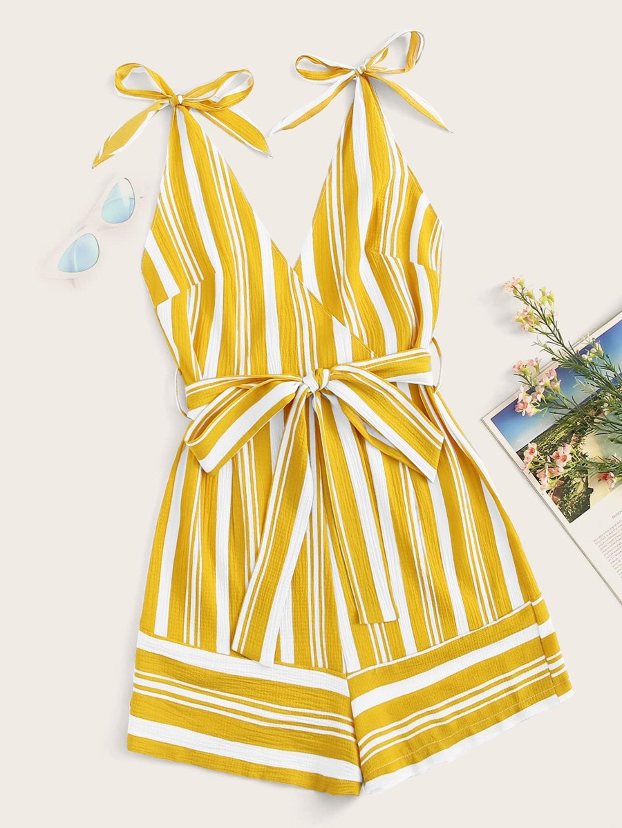 Striped Surplice Belted Cami Playsuit by Sheinside